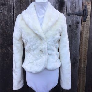 Forever 21 Cream Faux Fur Jacket Holiday